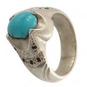 انگشتر نقره فیروزه نیشابوری خوش رنگ مرغوب مردانه