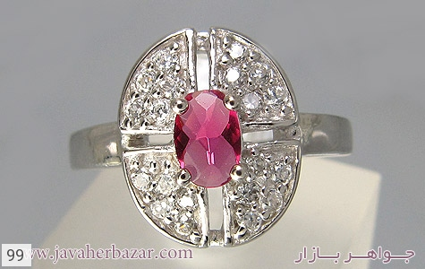 عکس انگشتر نقره نگین اتمی زنانه - شماره 1