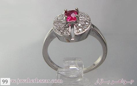 عکس انگشتر نقره نگین اتمی زنانه - شماره 2