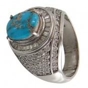 انگشتر نقره فیروزه نیشابوری درشت و سلطنتی مردانه
