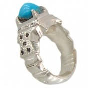 انگشتر نقره فیروزه نیشابوری خوش رنگ و مرغوب مردانه