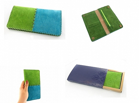 کیف چرم طبیعی اشبالت دو رنگ دست دوز زنانه دست ساز - 10932