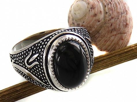 انگشتر نقره عقیق سیاه طرح غفار مردانه - 16207