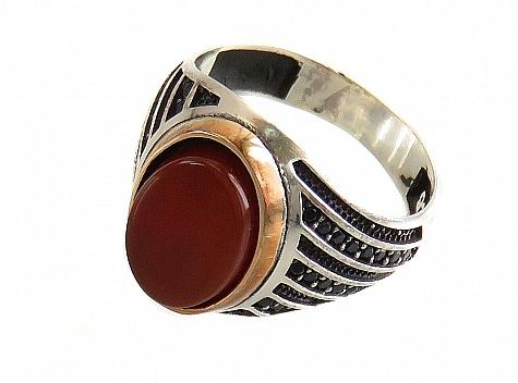 انگشتر نقره عقیق طرح بهادر مردانه - 16255