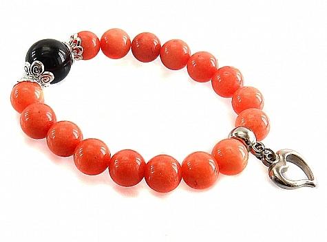 دستبند جید نارنجی درشت آویز قلب زنانه - 18208