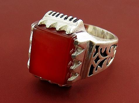 انگشتر نقره عقیق قرمز طرح مهیار مردانه - 18713
