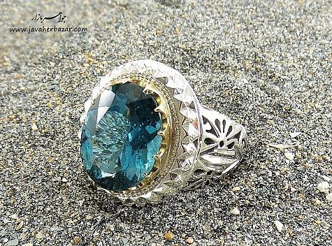 انگشتر نقره توپاز آفریقایی آبی یی شاهانه و کم نظیر مردانه - 22244
