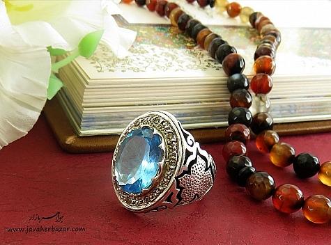 انگشتر نقره توپاز آبی دور برلیان اصل درشت و شاهانه مردانه - 22476