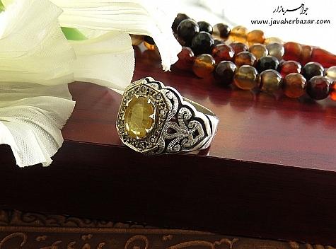 انگشتر نقره یاقوت زرد دور برلیان اصل ارزشمند مردانه - 22481