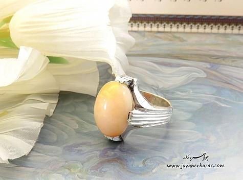انگشتر نقره اپال زیبا درشت و فاخر مردانه - 22493