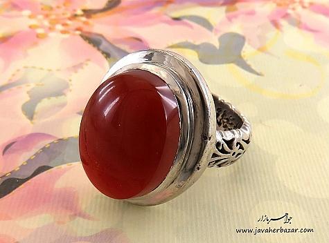 انگشتر نقره عقیق یمن سرخ طرح سلطان مردانه دست ساز - 24353