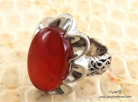 انگشتر نقره عقیق یمن سرخ ارزشمند مردانه دست ساز - 24355