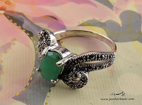 انگشتر نقره زمرد طرح مهرناز زنانه - 24468