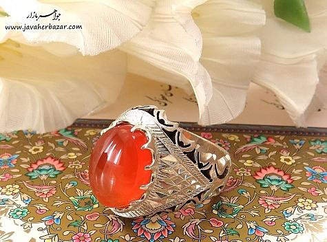 انگشتر نقره عقیق یمن خوش رنگ مردانه دست ساز - 24511