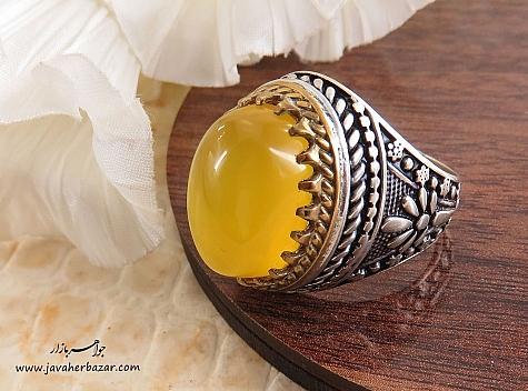 عکس انگشتر عقیق زرد مردانه