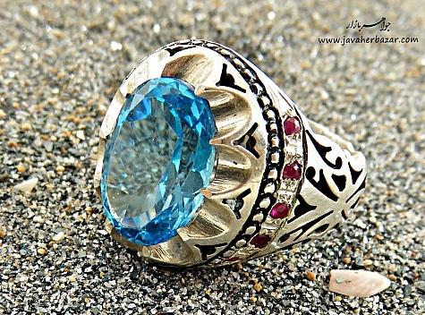 انگشتر نقره توپاز یاقوت سرخ خوش رنگ مردانه - 26100