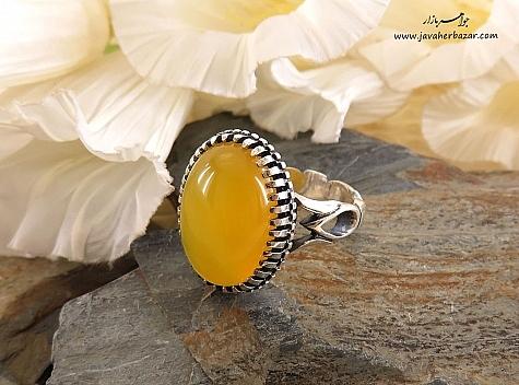 انگشتر نقره عقیق زرد درشت شرف الشمس مردانه - 27563