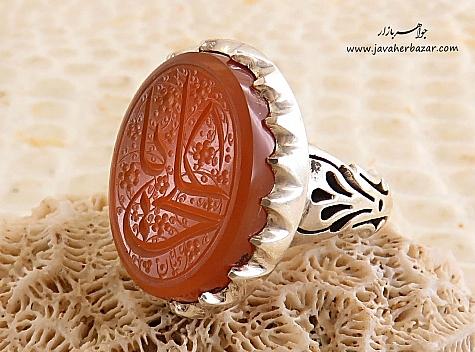عکس انگشتر عقیق یمن نارنجی