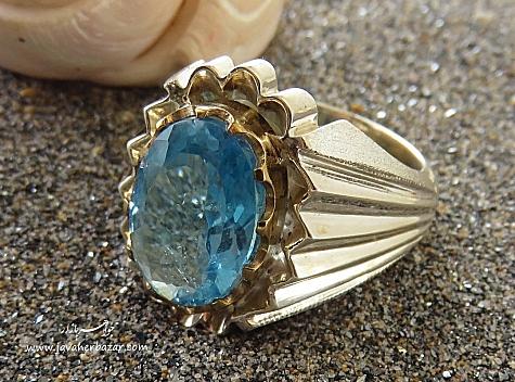 انگشتر نقره توپاز آبی درشت اشرافی مردانه - 28430