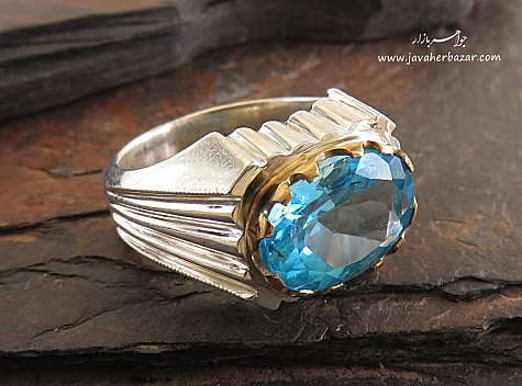 انگشتر نقره توپاز آبی درشت سلطنتی مردانه - 28435