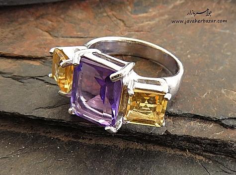انگشتر نقره آمتیست سیترین لوکس زنانه - 28544