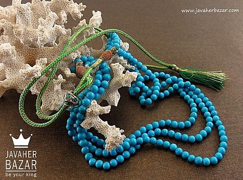 سینه ریز فیروزه تبتی سه رشته ای خوش رنگ - 28933
