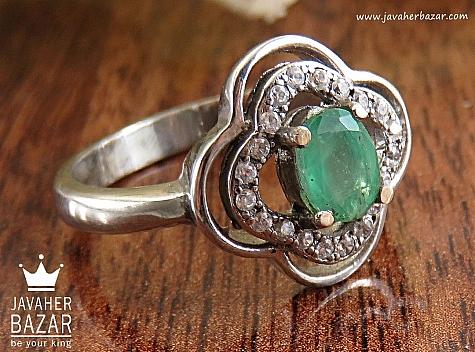 انگشتر نقره زمرد سبز خوش رنگ زنانه - 29740