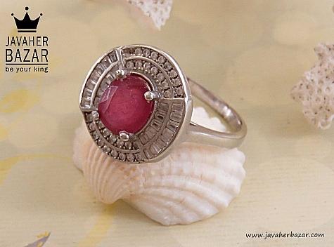 انگشتر نقره یاقوت سرخ طرح پرنیان زنانه - 29746