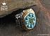 انگشتر نقره فیروزه زمرد خوش نقش و طرح سلطنتی مردانه دست ساز - 30332 - 1