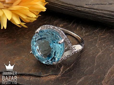 انگشتر نقره توپاز زیبا و خوش رنگ زنانه - 30352