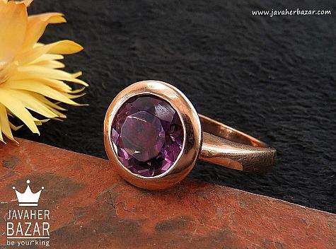 انگشتر نقره آمتیست خوش رنگ و زیبا زنانه - 30361