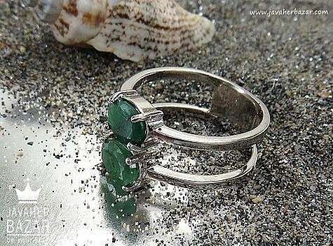 انگشتر نقره زمرد زیبا زنانه - 30378