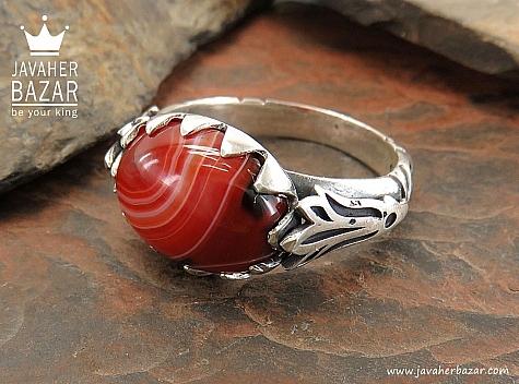 انگشتر نقره عقیق قرمز طرح صفوی مردانه - 30404