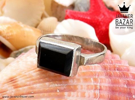 انگشتر نقره عقیق سیاه طرح صفوی - 30408