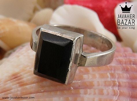انگشتر نقره عقیق سیاه اسپرت - 30409