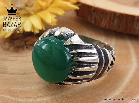انگشتر نقره عقیق سبز مردانه - 30415