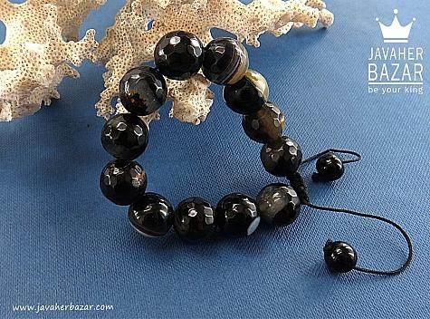 دستبند عقیق سیاه زنانه - 30523
