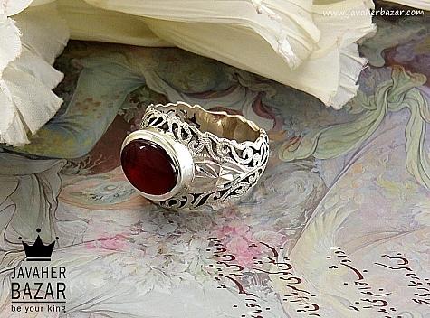 انگشتر نقره عقیق یمن طرح صفوی خوش رنگ و سلطنتی مردانه - 30609