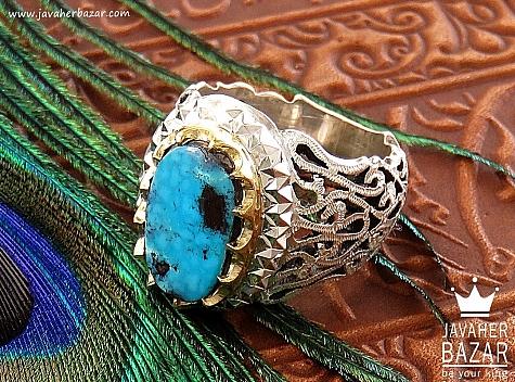 انگشتر نقره فیروزه نیشابوری ناب و کم نظیر مردانه - 30616