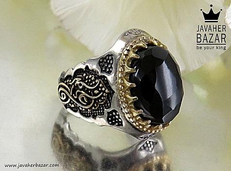 انگشتر نقره انیکس الماس تراش رکاب علی فاطمه فاخر مردانه - 30633