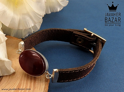 دستبند نقره چرم و عقیق طرح اسپرت - 31057
