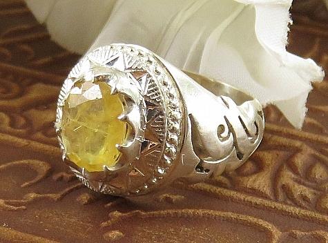 عکس انگشتر یاقوت آفریقایی زرد