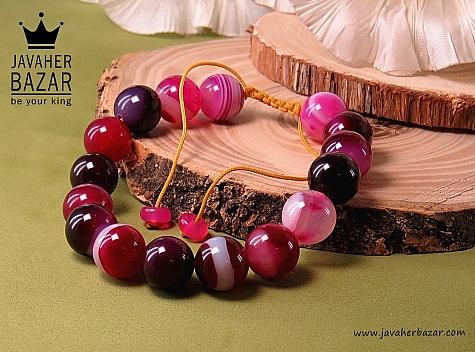 دستبند عقیق خوش رنگ طرح ناز زنانه - 31856