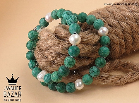 دستبند مروارید و جید زیبا زنانه - 31984