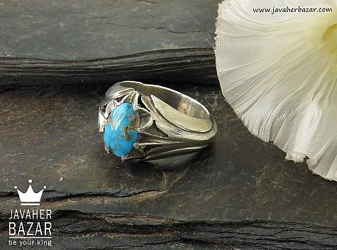 انگشتر نقره فیروزه نیشابوری دور چنگ شاهانه مردانه - 32151