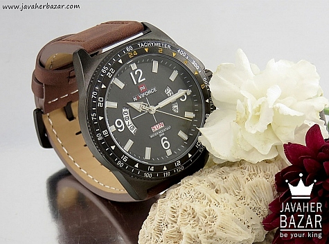 ساعت مچی بند چرمی تقویم هلالی مردانه naviforce - 32405