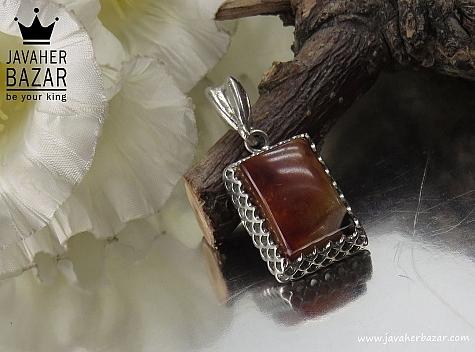 مدال نقره عقیق خزه ای چهار گوش - 32418