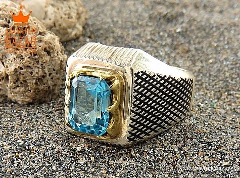 انگشتر نقره توپاز سوئیس ارزشمند مردانه - 32621