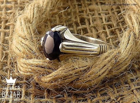 انگشتر نقره یاقوت آفریقایی کبود ظریف مردانه - 32850