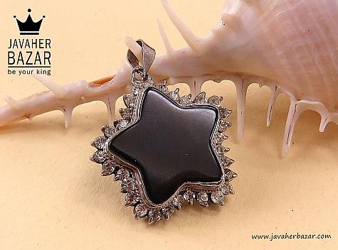 مدال نقره عقیق طرح ستاره - 33279